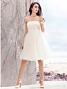 lanting는 라인 웨딩 드레스 무릎 길이의 끈이 얇은 명주 그물을 신부