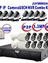 strongshine®ip kamera med 960p / infraröda / vattentät och 8ch H.264 NVR / 2TB övervakning hdd combo kit