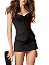 Black Office Wear Cotton Plastic Boned Corset Busiter With Stripe, Mini Skirt and G-string Set Sexy Lingerie Shaper