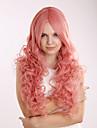 rosa extra lång hög kvalitet naturlig lockigt syntetisk peruk