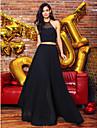ts couture® vestido de noite formal - duas pecas de uma linha cabecada do assoalho-comprimento chiffon / laco com laco