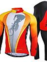 NUCKILY® Maillot et Cuissard Long de Cyclisme Homme Manches longues VeloRespirable Sechage rapide Pare-vent Resistant aux ultraviolets
