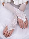 Lungime Cot Fără Degete Mănușă Mătase Satin Elasticizat Mănuși de Mireasă Primăvară Vară Toamnă Iarnă Funde Dantelă