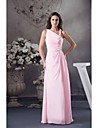 Lanting Bride® Floor-length Chiffon Bridesmaid Dress Ball Gown Notched with Beading / Flower(s)