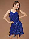 Performance Dresses Women\'s Performance Polyester Paillettes / Tassel(s) 1 Piece Blue / Fuchsia / White And Silver Latin Dance Backless