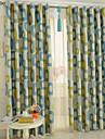 Två paneler Modern Tecknat Blå Bedroom Polyester Blackout Gardiner draperier