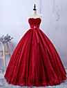 Formal Evening Dress A-line Sweetheart Floor-length Lace with Appliques / Bow(s)