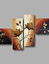 HANDMÅLAD Abstrakt / Blommig/BotaniskModerna Fyra paneler Kanvas Hang målad oljemålning For Hem-dekoration