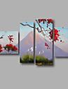 """redo att hänga sträckte handmålad oljemålning 64 """"x40"""" fyra paneler duk väggdekorationer modern röd blomma berg"""