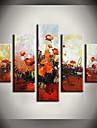 Peint a la main Abstrait / Paysage / Nature morte / A fleurs/BotaniqueModern Cinq Panneaux Toile Peinture a l\'huile Hang-peint For