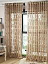 Două Panouri European Dungi / Floral / Botanic / Geometic / Curbă Cafeniu Sufragerie Poliester Sheer Perdele Shades