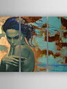 Oil Painting a Woman Set of 3 pcs Hand Painted Canvas with Stretched Framed