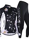NUCKILY® Maillot et Cuissard Long de Cyclisme Femme Manches longues VeloRespirable / Pare-vent / Design Anatomique / Permeabilite a