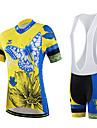 CHEJI® Maillot et Cuissard a Bretelles de Cyclisme Femme Manches courtes VeloRespirable / Sechage rapide / Resistant aux ultraviolets /