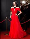 A-Linie Schmuck Boden-Laenge Chiffon Ball Formeller Abend Kleid mit Perlenstickerei Drapiert durch TS Couture®