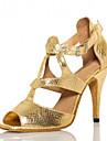 Chaussures de danse(Or) -Personnalisables-Talon Personnalise-Cuir Similicuir-Latine Salsa
