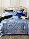100% bomull& siden blå Rom stil jacquard påslakan set 4 st fullt queen size