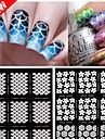 2016 nya spik vinyler oregelbundet rutmönster stämpling nail art tips manikyr stencil spik ihåliga klistermärken styr 1st