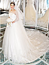 Lanting Bride A-line Wedding Dress-Chapel Train Scoop Lace / Tulle