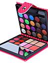 32 färger ögonskugga pressat puder läppglans rouge 4in1 makeup kollektion plånbok förpackning