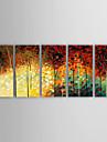 Pictat manual Peisaj / Peisaje Abstracte Modern Cinci Panouri Canava Hang-pictate pictură în ulei For Pagina de decorare
