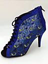 Chaussures de danse(Bleu) -Personnalisables-Talon Aiguille-Satin-Latine