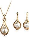 Ensemble de bijoux Perle Imitation de perle Strass Imitation de diamant Alliage Bijoux de Luxe Argent Dore Collier / Boucles d\'oreilles