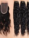 brasilianska jungfru hår med stängning brasilianska vatten våg spets stängning med hår buntar 4st / lot