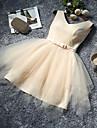 A-line V-gât gât lungime genunchi rochie domnisoara de onoare cu arc (e)