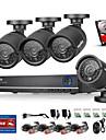 sannce® 4ch ahd 4pcs dvr 720p ir systeme kits de surveillance de la securite a la maison de l\'enregistreur dvr de securite cctv 4 ch