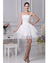 A-라인 웨딩 드레스 숏 / 미니 끈없는 스타일 오간자 / 새틴 와 아플리케