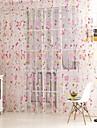 Un Panneau Rustique Vin Vert / Rose Salle de sejour Polyester Sheer Rideaux Shades