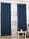 Deux Panneaux Rustique / Europeen Solide Noir / Bleu Salle de sejour Lin Rideaux occultants rideaux