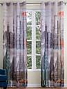 Två paneler Modern Arkitektur Multifärgad Living Room Polyester Sheer gardiner Shades