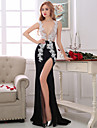 Formal Evening Dress Sheath / Column V-neck Asymmetrical Lace / Taffeta with Beading / Crystal Detailing / Lace