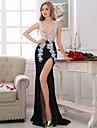 Teacă / coloană v-gât asimetrice dantelă taffeta rochie seara cu beading