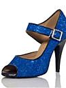 Chaussures de danse(Noir Bleu Violet) -Personnalisables-Talon Personnalise-Paillette Brillante Paillette-Latine Salsa