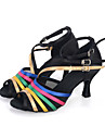 Chaussures de danse(Noir / Or) -Personnalisables-Talon Bobine-Satin-Ventre / Latine / Jazz / Baskets de Danse / Moderne / Samba /