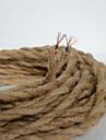(50m / lot) 2 * 0,75 antika dubbel flätat hamprep elektrisk tråd vintage hängande ljus sladd stickade lampor tillbehör