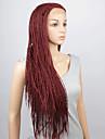 perruques mode perruques synthetiques dentelle devant 32inch tresses chaleur rouge cheveux resistants perruques femmes