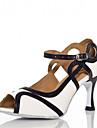 Customizable Women\'s Dance Shoes Latin / Jazz / Swing Shoes / Salsa / Samba Satin Customized Heel Red / White