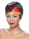mode kort raka mix-clolor (black & red) syntetiskt hår peruker part peruk