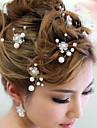 6 PCS Bride\'s Flower Shape Rhinestone Pearl Wedding Hair Clip Accessories