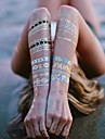 ALL BLUE-Tatueringsklistermärken-Non Toxic / Halloween / Stor storlek / Hawaiian / Ländrygg / Waterproof / Metallisk / 3D / Spets-