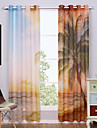 Două Panouri Modern Natural & Peisaj Multicolor Sufragerie Poliester Sheer Perdele Shades
