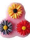 tre hål solros silikon mögel fondant formar socker hantverksredskap harts blommor form för kakor
