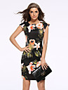 Women\'s Vintage / Street chic V-NaNa Print Floral Plus Size / Sheath Pencil Dress,Round Neck Above Knee