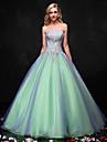 Da principessa Abito da sposa Abiti sposa colorati Lungo Senza spalline Organza con Perline / Cristalli / Di pizzo / A fantasia