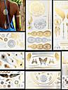 8 Tatouages Autocollants Series bijoux Series animales Series de fleur Series de totem Autres Non Toxique Motif Halloween Paillettes