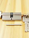 serrure cylindre pouce tour cylindre 70mm (35/35), cylindre de serrure avec le bouton avec 3 cles, brosse Nickel